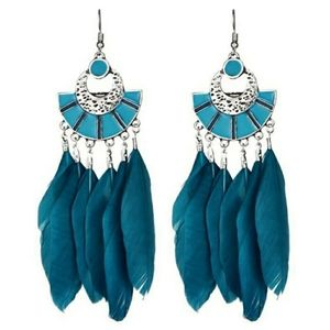 Turquoise Long Feather Earrings